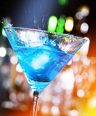 blue drink with colorful background